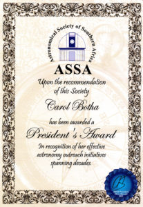 Astronical Society of Southern Africa Presiden't Award